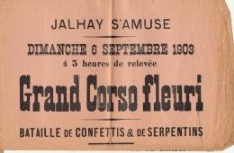 affiche grand corso fleuri Jalhay 1903