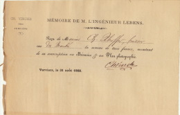 Reçu De Xhoffer Memoire De L'ingénieur Lebens Verviers 1868 Chez Vinche - Belgium