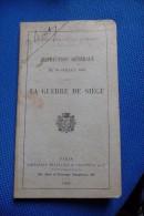 Manuel Militaire  La Guerre De Siege  1909 - 1914-18