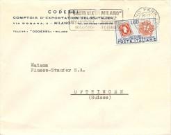 Italia, Cover, Mi 847,  Milano 24.10.1951 To Switzerland, See Scans! - Sin Clasificación