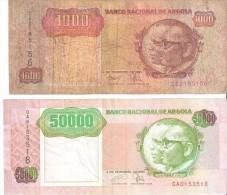 ANGOLA  1000 - 50000 KWANZAS 1991 (BANKNOTE)  2 SCANS - Angola