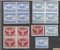 REICH 1942 - Franchigia Militare Unif. 1/2A Lotto Di 3 Quartine + 3 Singoli Nuovi** - Allemagne