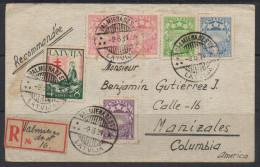 FT27.-. LATVIJA/LATVIA. 1934.-. COVER. VALMIERADZST 9-6-1934 TO MANIZALES-COLOMBIA 4-JUL-1934. NICE LABEL ON BACK