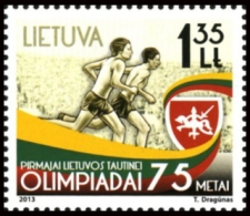 LITHUANIA LITUANIE 2013 FIRST LT NATIONAL OLYMPICS GAMES 75 YEARS