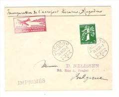 TP Suisse Inauguration De L'Aéroport Locarno-Magadino C.Locarno 24/6/39 V.Chenée Belgique C.d'arrivée PR2422 - Poste Aérienne