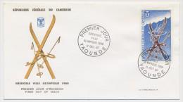 Cameroun => Enveloppe FDC => Grenoble Ville Olympique 1968 - Yaoundé - 11 Octobre 1967 - Cameroun (1960-...)