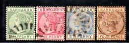 SS6481 - BARBADOS 1882 , Vittoria Quattro Valori Usati. Fil CA - Barbades (...-1966)