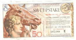 Billet Loterie - Sweepstake - Prix De L'Arc De Triomphe 1935 - Soc. D'Encouragement Des Races De Chevaux En France - Lotterielose