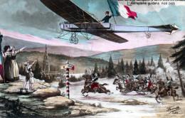 Cpa 1914, Aéroplane Ami Au Dessus Des Combattants Au Passage De La Frontière  (39.91) - Guerra 1914-18