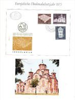 Europ�ischer Denkmalschutz 1975 Jugoslawien 3 Werte kompletter Satz auf illustrierten Ersttagsbrief