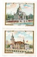 CHROMO Au Bon Marché Exposition Universelle 1900 Italie Belgique Etats Unis Pavillon Royal De Hongrie TBE (4 Chromos - Au Bon Marché