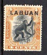 Labuan - North Borneo 1900-02 Overprints - 4c Orang-Utan HM (SG 112) - Nordborneo (...-1963)