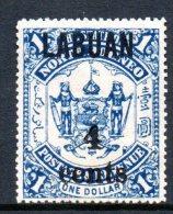 Labuan - North Borneo 1904 Overprint Surcharges - 4c On $1 Blue HM (SG 137) - North Borneo (...-1963)