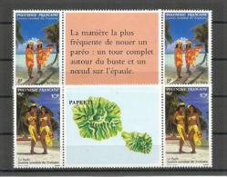 TAHITI. Femmes Tahitiennes En Paréos.  4 T-p Neufs ** Avec Vignettes Centrales. - Costumes