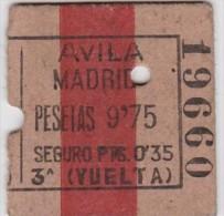BILLET TICKET  BILLETE DE TREN ESPAÑA AVILA -  MADRID - Chemins De Fer