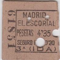 BILLET TICKET  DEMI BILLETE DE TREN ESPAÑA   MADRID - EL ESCORIAL - Chemins De Fer