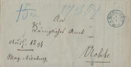 Brief Gel. Von Nienburg 1.1. Blauer Stempel Nach Uchte - Hannover