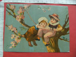 Chromo Enfant Dans Arbre En Fleurs - Trade Cards
