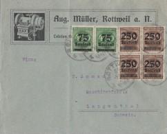 DR Brief Mif Minr.2x 287,4x 294  4er Block Rottweil 30.9.23 Gel. In Schweiz - Deutschland