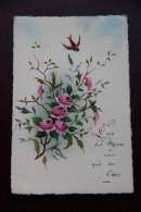 Carte Peinte : Oiseau Et Roses - Fantaisies