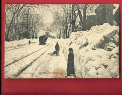 MBM-21  Montréal, Goy Street In Winter, Rue Goy Tramway, ANIME, Tache Frontale. Cachet 1910 Pour Nuits-St-Georges France - Montreal