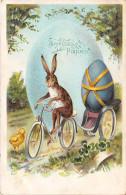 CPA Fantaisie - Joyeuses Pâques - Lapin Humanisé - Vélo - Oeuf - Pascua