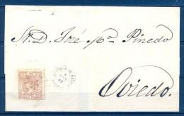 1867 , ASTURIAS , ISABEL II , ED. 96 , MATASELLOS FECHADOR DE GRANDAS DE SALIME  , ENVUELTA  CIRCULADA A OVIEDO. - Covers & Documents