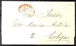 BOLIVIA, AÑO 1854, CARTA COMPLETA PREFILATÉLICA CIRCULADA ENTRE COCHABAMBA Y COBIJA, MARCA COCHABAMBA FRANCA - Bolivien