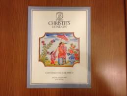Christie´s  London Continental Ceramics European Catalogue 1987 - Fine Arts