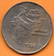 INDE /  INDIA   2 RUPEE 1998 ( ? )   Round Dot  KM#121.? - India