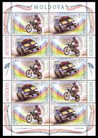 Moldova 2015, Motorbikes Cars Motocross Autocross, Sheetlet Of 5 Sets, MNH - Moldova