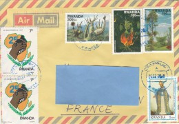 Z3] Enveloppe Cover Rwanda Cyangugu Affranchissement Mixte Mixed Postage Vegetal Cardinal - 1990-99: Oblitérés
