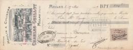 Lettre Change 27/5/1909 GUILLOT Moulin à Cylindres Minoterie MILLAU Aveyron Pour St Hippolyte Du Fort Gard - Lettres De Change