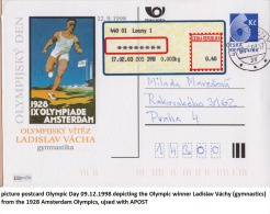Czech Republic Picture Postcard Olympic Day 09.12.1998 Depicting The Olympic Winner Ladislav Váchy (gymnastics) From The