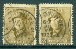 """BELGIE - OBP Nr 172 - Albert Met Helm/Roi Casqué - Gest./obl. Cachet """"LA LOUVIÈRE"""" - 2 Verschillende Stempels - 1919-1920 Albert Met Helm"""