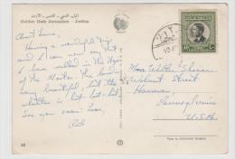 Ara043 / König Hussein, 40 Fils Auf Karte Ex Jerusalem Nach USA - Jordanien