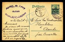 BRIEFKAART  - DUITSE CONTROLE STEMPEL ARLON 1915