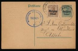 BRIEFKAART  - DUITSE CONTROLE STEMPEL TIENEN   1917