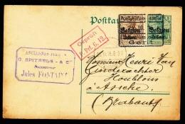 BRIEFKAART  - DUITSE CONTROLE STEMPEL GENT + RODE STEMPEL   1916
