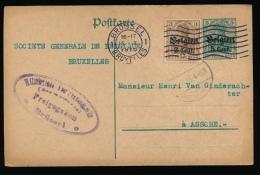 BRIEFKAART  - DUITSE CONTROLE STEMPEL BRUSSEL    1916
