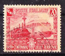 Treno Italia  Impero 1939-Cent. 20 Rosso-Usato - Eisenbahnen
