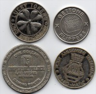 4   JETONS - JEUX - TOKENS -  Gettone Flippers - Amusement Circus - Lucky Tokens - One Dollar Impérial Palace Las Vegas - Jetons En Medailles