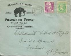 ENVELOPPE SANTE PHARMACIE PRIVAT GERARD VERNHET  RUE TRENCAVEL BEZIERS HERAULT  VERMIFUGE ELEPHANT  1949 - Poste