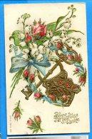 W234, Bonne Année, Fleur, Rose, Muguet, Dorure, Clé, Ruban, Série 230, Relief, Fantaisie, Précurseur Circulée 1906 - New Year