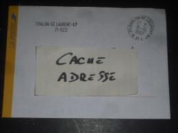 CHALON SAINT LAURENT AP - SAONE ET LOIRE - CACHET ROND MANUEL ET GRIFFE LINEAIRE SUR ENVELOPPE SERVICE LA POSTE - Marcophilie (Lettres)