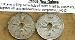 PAPUA NEW GUINEA BRITISH 1 SHILLING ERROR CENTRE HOLE OFF &1/2 SIZE 1938 AG SILVER KM?UNC READ DESCRIPTION CAREFULLY !!! - Papua New Guinea