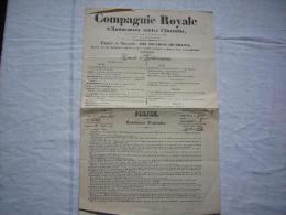 Police D'assurance Compagnie Royale D'assurances Contre L'incendie 1845 à Avignon Comte De Valleton - Banco & Caja De Ahorros