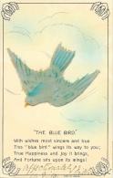 Oiseau En Feutre Collé Sur La Carte - The Blue Bird - Grande Bretagne - Autres