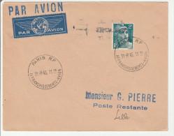 Paris RP 1945 Affranchissements Avion - Cachet Horoplan - Courrier Avion Pour Lille - 1921-1960: Moderne