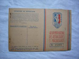 Carte De Membre Vierge Groupement National Des Réfractaires Et Maquisards Timbre 1953 - Documents Historiques